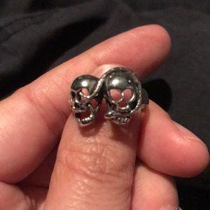 Double Skull Snake Crossbones Ring